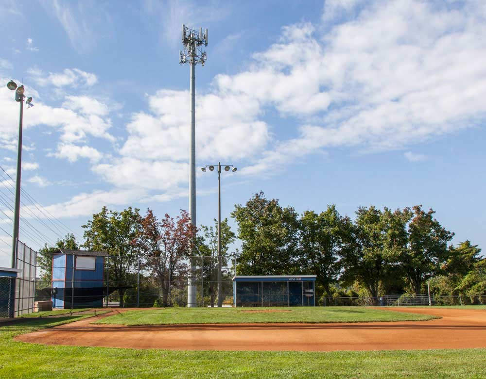 monopole cell tower at baseball field at Turley Fields Park in Prince William County